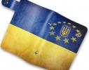 Кожаная кредитница на кнопке Флаг Украины 20 карт фото 3