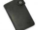 Кожаная кредитница на кнопке черная крафт 20 карт фото