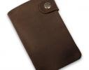 Клонировать Кожаная кредитница на кнопке коричневая крафт 20 карт фото