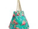 Пляжная сумка Бирюзовая с принтом Flamingo фото 1