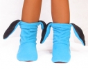 Тапочки Зайчики голубые с черными ушами фото