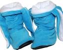 Тапочки Зайчики голубые с белыми ушами фото