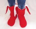 Тапочки Зайчики красные с белыми ушами фото 1