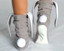 Тапочки Зайчики серые с белыми ушами фото