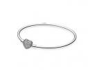 Жесткий серебряный браслет Pandora Сердце