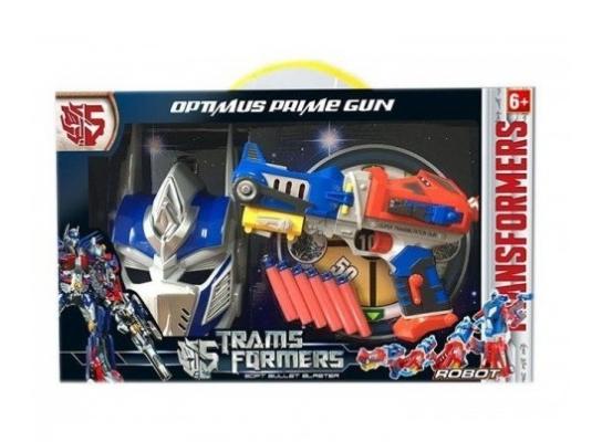 Игровой набор бластер, маска, поролоновые снаряды Shantou Transformers Оптимус фото