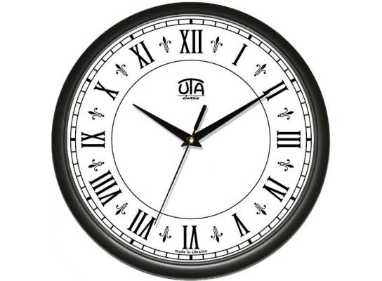 Часы настенные круглые черные Римские цифры фото
