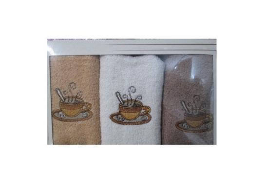 Подарочный набор махровых полотенец для кухни Кофе фото