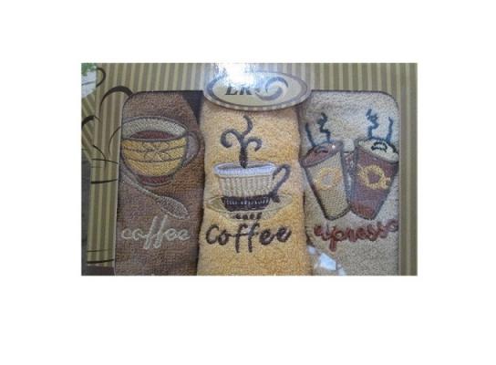 Подарочный набор махровых полотенец Кофе 3 цвета фото