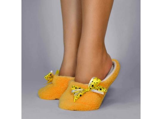 Тапочки комнатные Желтые с атласной ленточкой фото