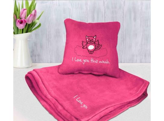 Набор подушка и плед с вышивкой I love you this much! Розовый фото