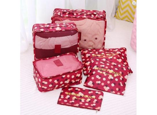 Клонировать Органайзеры дорожные набор 3+3 сумки Бордо в цветочек фото
