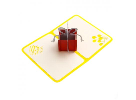 Обьемная открытка Сюрприз желтая фото