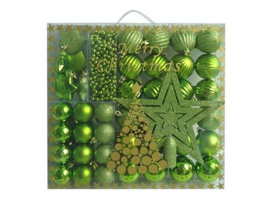 Набор новогодних шаров Зеленое Ассорти 50шт фото
