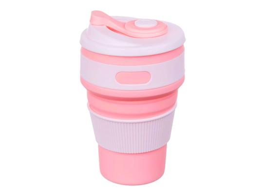 Чашка складная силиконовая Collapsible 5332 350мл, розовая фото