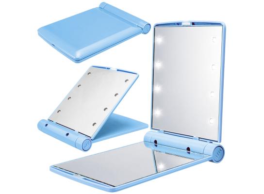 Карманное зеркало складное с LED подсветкой голубое фото 6