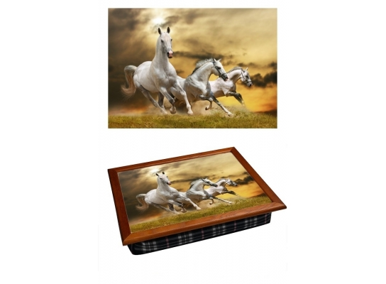 Поднос с подушкой Белые Лошади фото