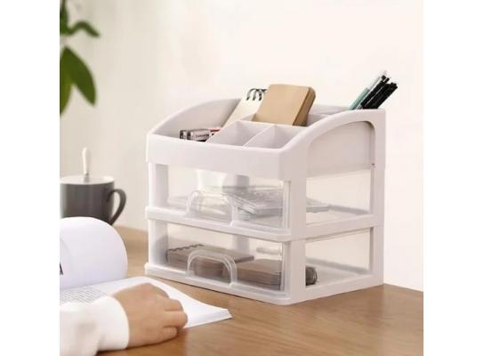 Мини - комод пластиковый прозрачный на 2 секции с подставкой для косметики Белый фото