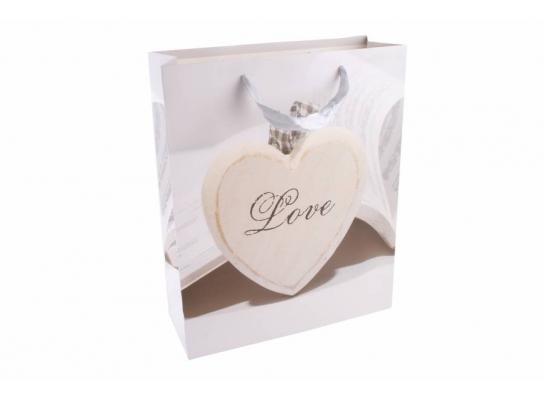 Пакет подарочный белый Сердце фото 1
