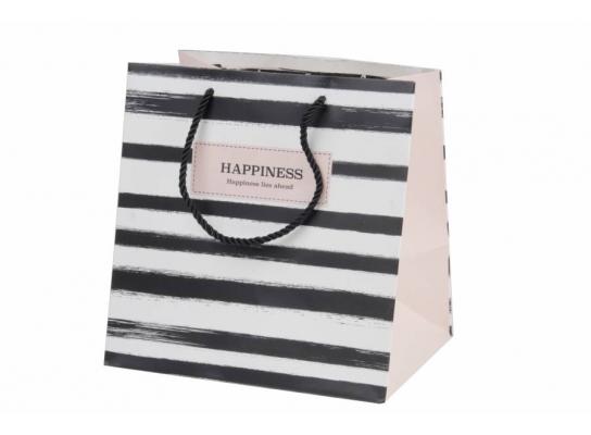 Пакет подарочный Happiness Геометрия в светлую полоску фото 1