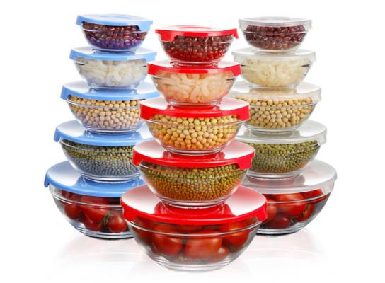 Набор кухонный контейнеры - миски стекляные с крышкой для продуктов фото