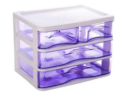 Мини - комод пластиковый прозрачный на 3 секции фото