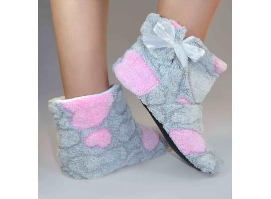 Тапочки - угги комнатные Teddy Серые с розовыми сердечками фото