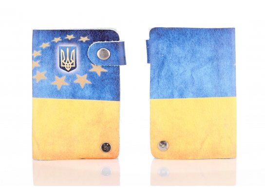 Кожаная кредитница на кнопке Флаг Украины фото 1