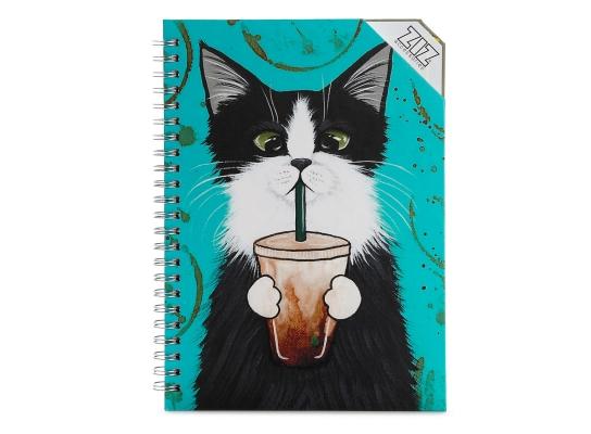 Блокнот Кот со стаканом фото