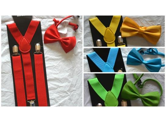 Набор подтяжки детские широкие и галстук-бабочка фото