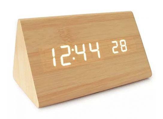 Часы Wooden Clock светлый треугольный фото