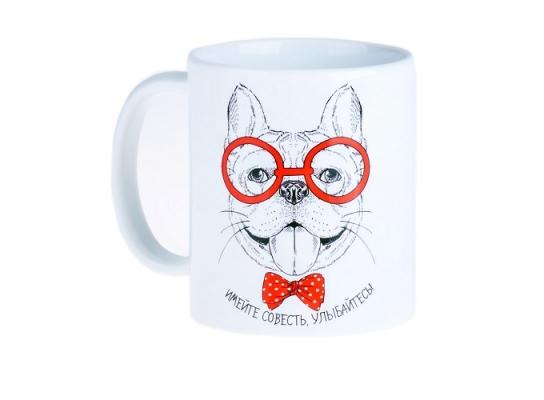 """Чашка с собакой """"Имейте совесть, улыбайтесь!"""" фото"""