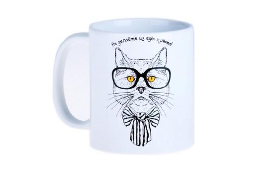 """Чашка с котом """"Не делайте из еды культа"""" фото"""