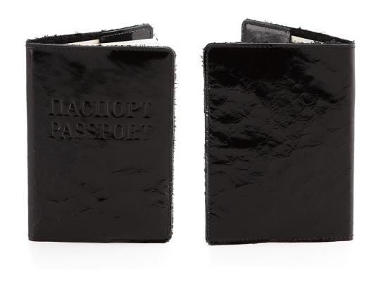 Кожаная обложка на паспорт Лакированный Уголь фото