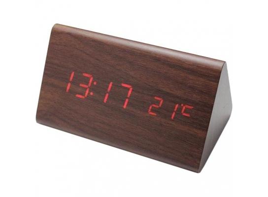 Деревянные светодиодные настольные часы Wooden Clock Ольха фото 1