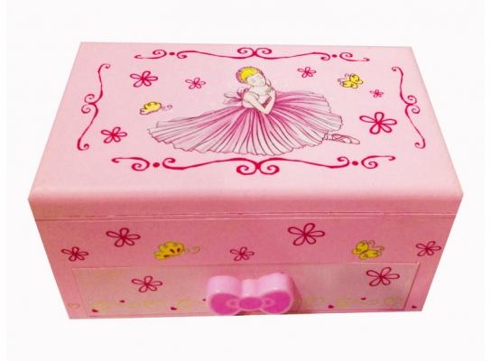 Музыкальная шкатулка с балериной Розовая фото