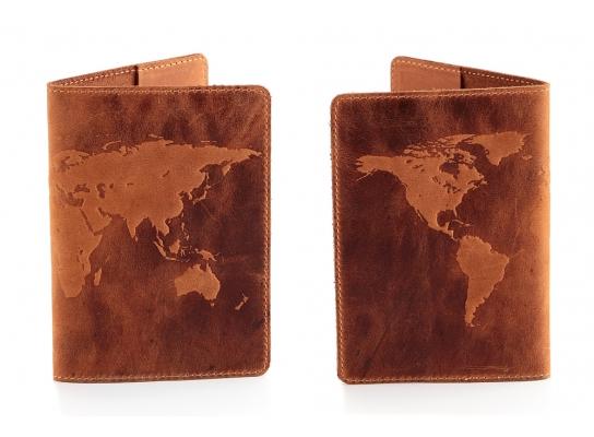 Кожаная обложка на паспорт с гравировкой Карта Мира фото