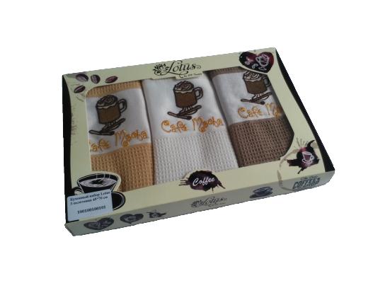 Набор кухонных полотенец Lotus - Coffee фото