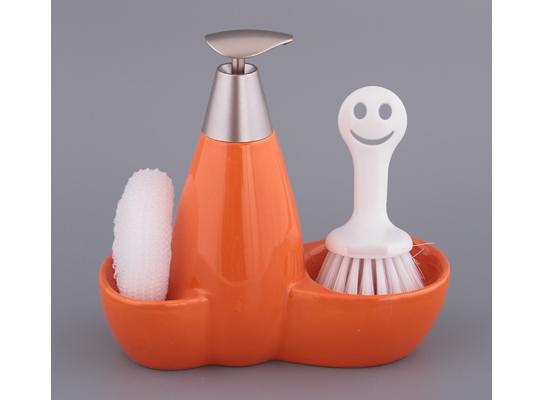 купить набор для мыла с губкой и щеткой Оранжевый