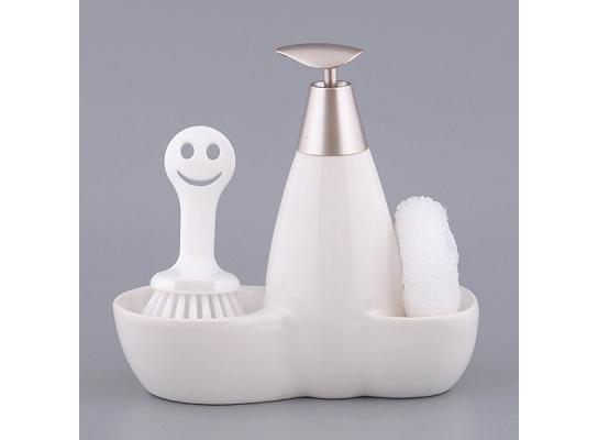 Набор для мыла с губкой и щеткой Белый