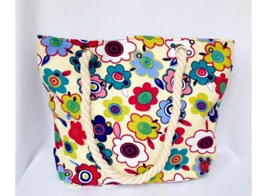 Пляжная текстильная летняя сумка для пляжа и прогулок Цветы фото