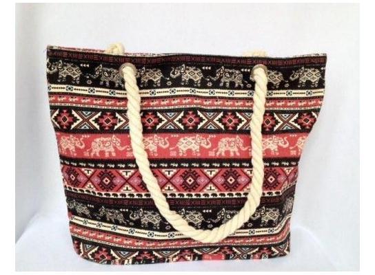 Пляжная текстильная летняя сумка для пляжа и прогулок орнамент Индия фото