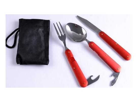 Туристический набор 3в1 ложка, вилка, нож фото