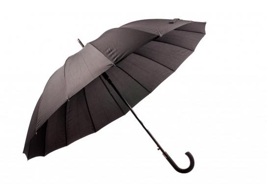 Зонт Антишторм трость Черный 16 спиц фото