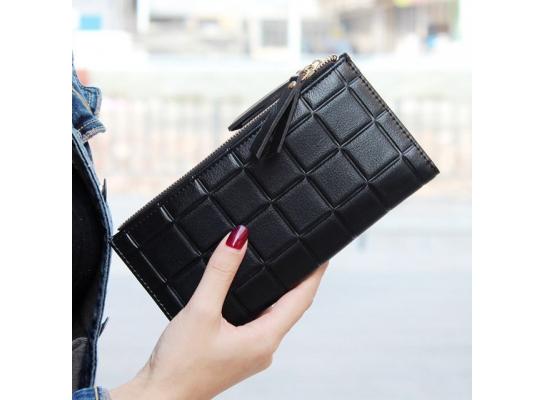 Женский кошелек в клетку фото
