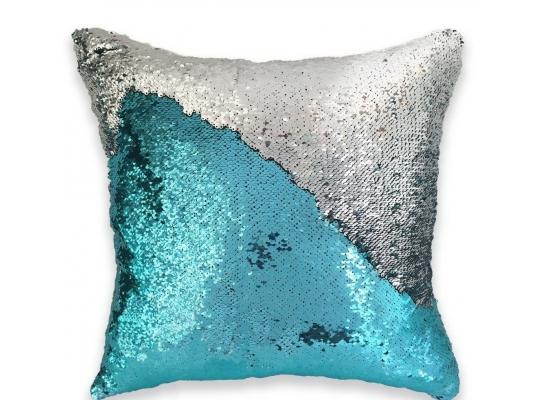 Подушка антистресс с пайетками-перевертышами голубой/серебро фото