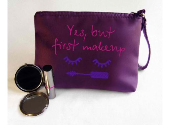 Косметичка с вышивкой Yes, but first makeup Фиолетовая фото 1