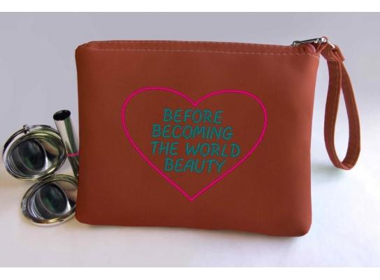 Косметичка с вышивкой The world beauty Терракотовая фото 1