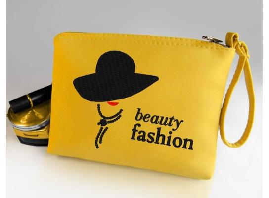 Косметичка с вышивкой Beauty fashion Желтая фото