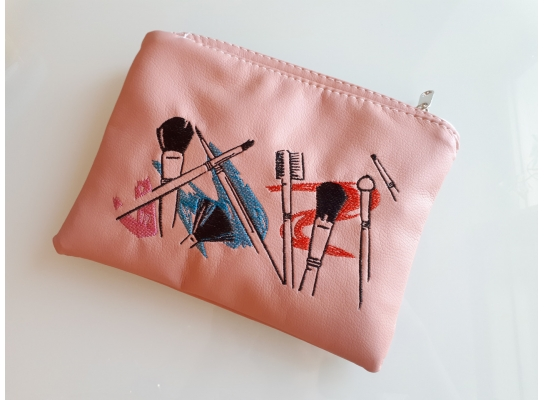Косметичка с вышивкой Makeup Розовая фото 1